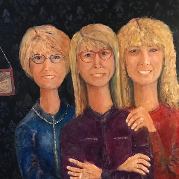 """The Siblings"" Three sisters and their brother. Oil on Canvas"