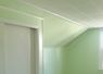The paneling & doors were dark wood. The ceiling tiles were old and yellowed. Check out how straight the lines are where the white meets the green.