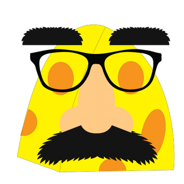 Cheese hunk with Grouchy glasses and mustache