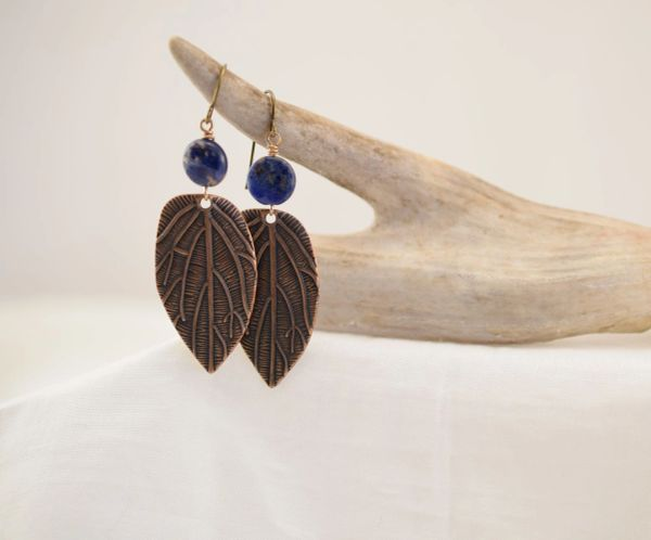 Earrings, Blue Chalcedony with brass Leaf Charm