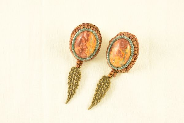 Bead embroidered jasper cabochon brass feather dangles