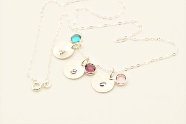 Personalized Initial Birthstone Necklace Great Gift for Mom, Bridesmaids, Valentines Day, Birthdays