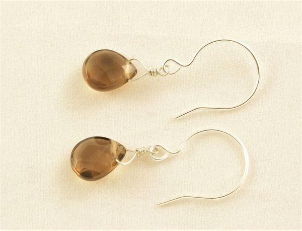 Smoky Quartz Briolettes, sterling silver French hoop ear wires