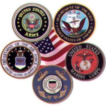 Crests of the Branches of Service (Army, Navy, Air Force, Marines and Coast Guard)