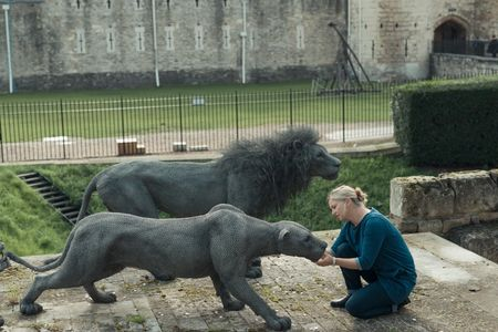 Kendra Haste with her work at the Tower of London