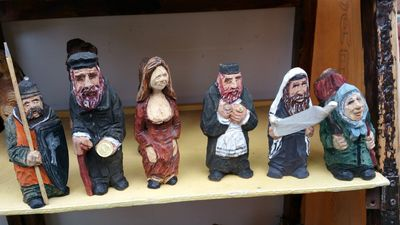 Jewish good luck figurines for purchase in a store in Warsaw.