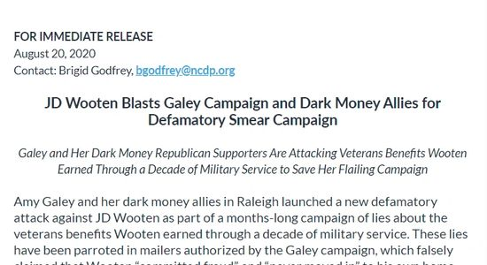 MGaley and Her Dark Money Republican Supporters Are Attacking Veterans Benefits Wooten Earned Throug