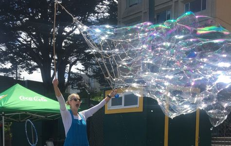 Outdoor Bubble Play! Tons of fun for everyone!.  This isn't a show,  just so you know.