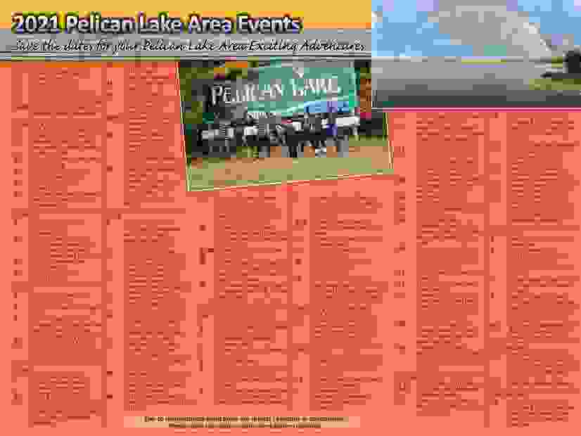 Pelican Lake area events for 2021.