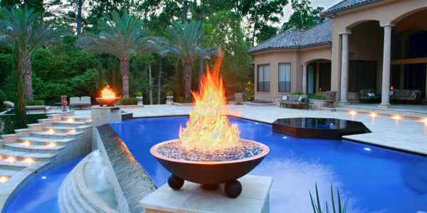 FIRE PLACE FIRE PIT INFINITY POOL SPA HOT TUB CUSTOM POOL