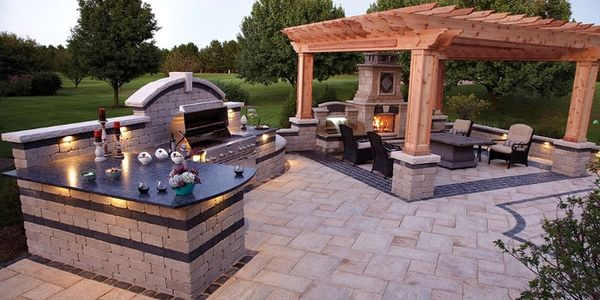 CUSTOM POOLS OUT DOOR KITCHEN GRILL SMOKER PERGOLA STONE DECK PATIO BUILD