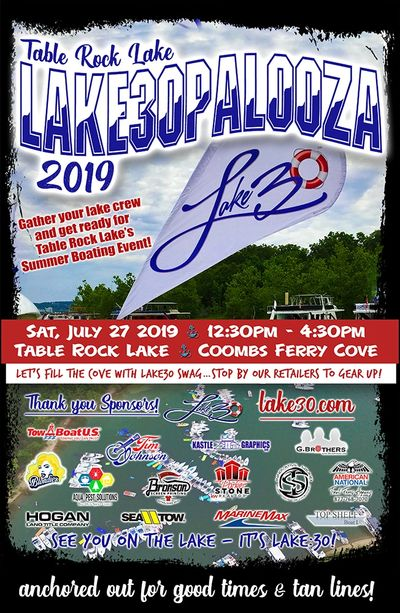 Lake30Palooza 2019 - Table Rock Lake 7.27.19  Click on the pic to RSVP to the FB Event!