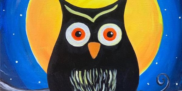 Painting for papa joes paint and pizza event. The Moonlight led the Owl.