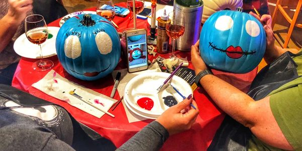 Pumpkin painting at Papa Joe's for All ages. Delicious Pizza and Drinks available for sale.