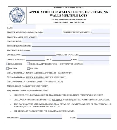 Las Vegas Fence Permit Application