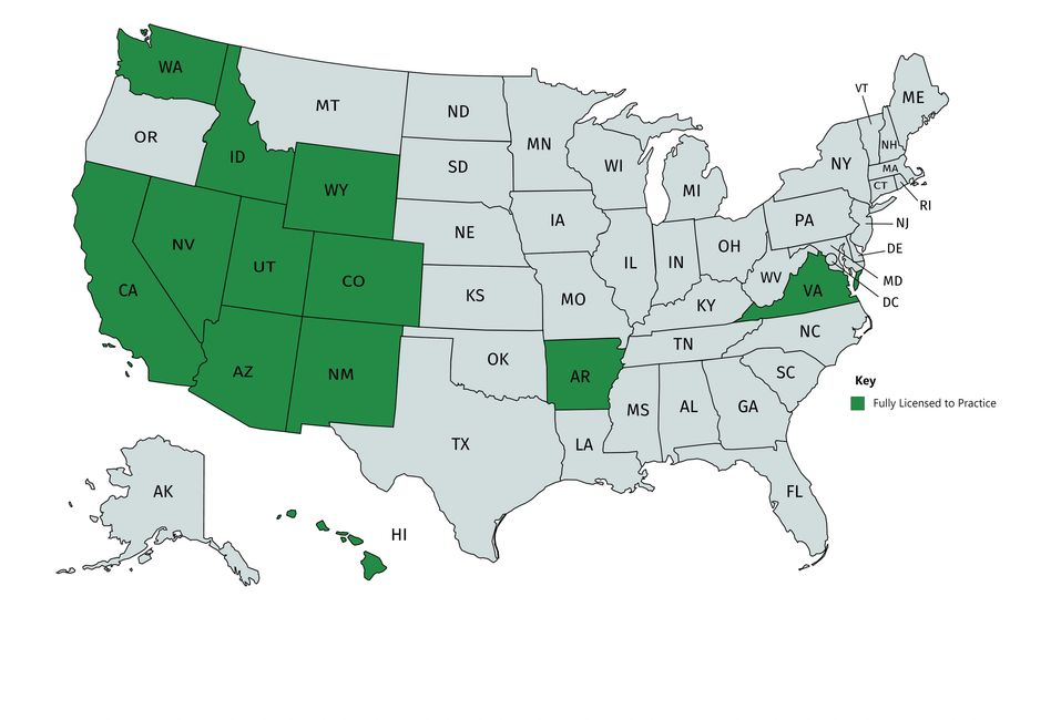States where Dr. Mendonsa holds an active and unrestricted license to practice