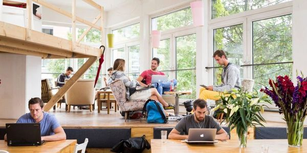 Entrepreneurs in a co-working shared office space