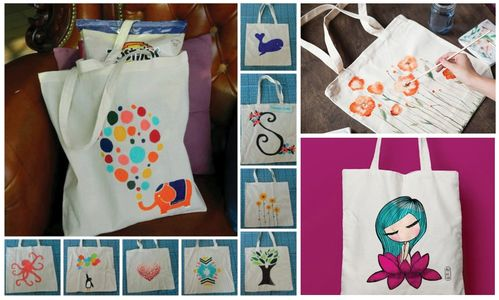 Painted canvas tote bag. Handmade. Cute and adorable.