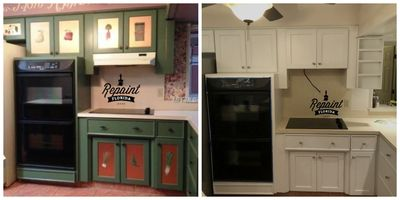 before & after pic of kitchen cabinet painted white in maitland fl 32751