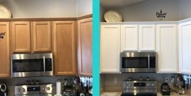 before & after pic of kitchen cabinet refinishing clermont fl 34715 by Repaint Florida