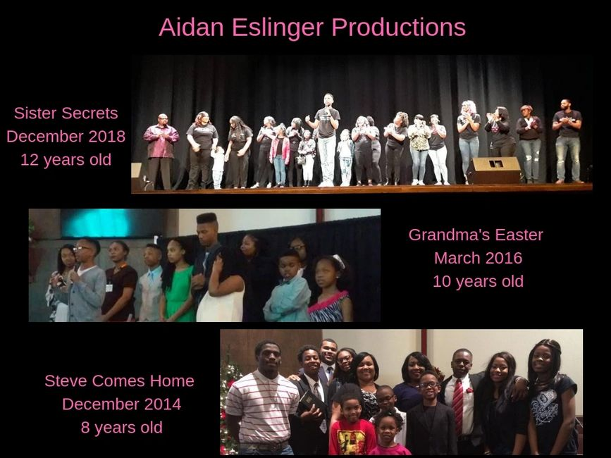 Aidan Eslinger and cast members from different plays