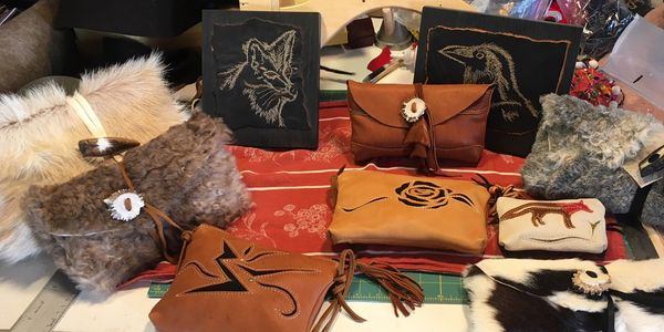 Leather pouches, hide pouches, hide clutch, hair on hide clutch, fox pouch, raven, 2NFrom studio