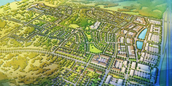Illustrative vision for west Ennis, Texas, in conjunction with Livable Plans & Codes.