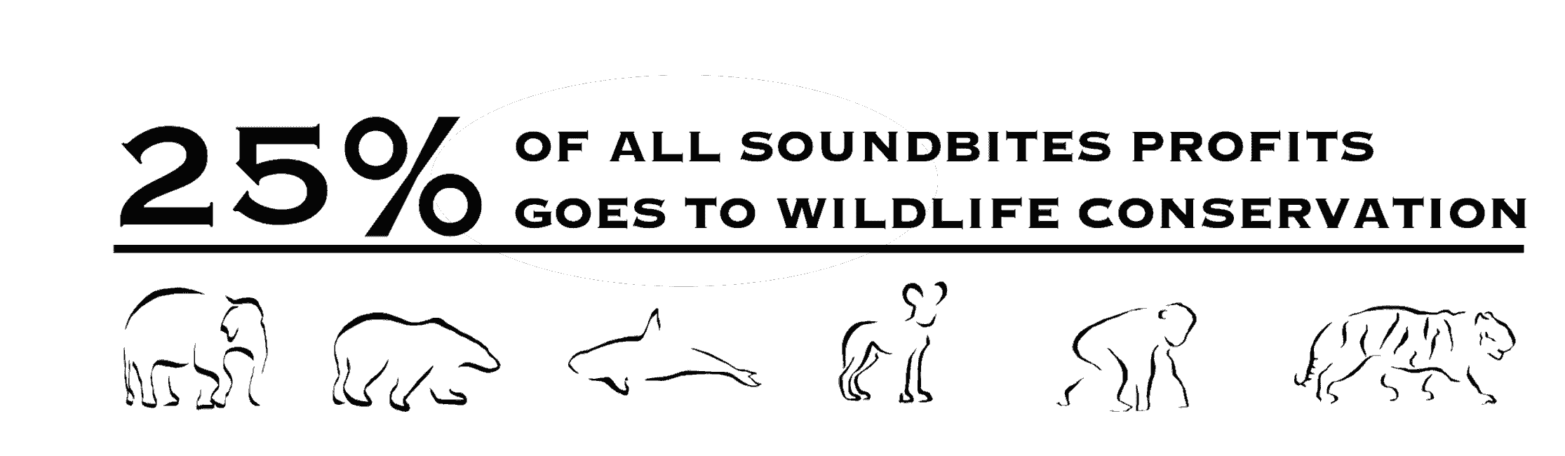 25% of SoundBites profits go directly to supporting wildlife conservation.