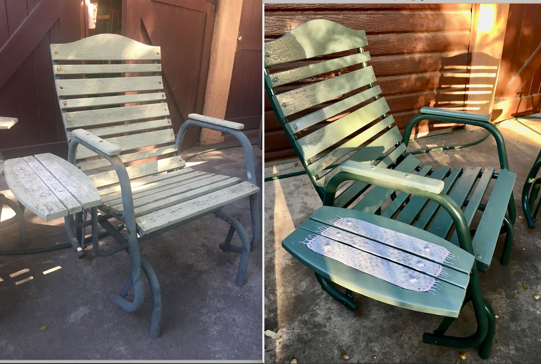 "{""blocks"":[{""key"":""fbq7r"",""text"":""Repair and repainting of 2 vintage gliding patio chairs including decorative \""doily\"" on the side tables."",""type"":""unstyled"",""depth"":0,""inlineStyleRanges"":[],""entityRanges"":[],""data"":{}}],""entityMap"":{}}"