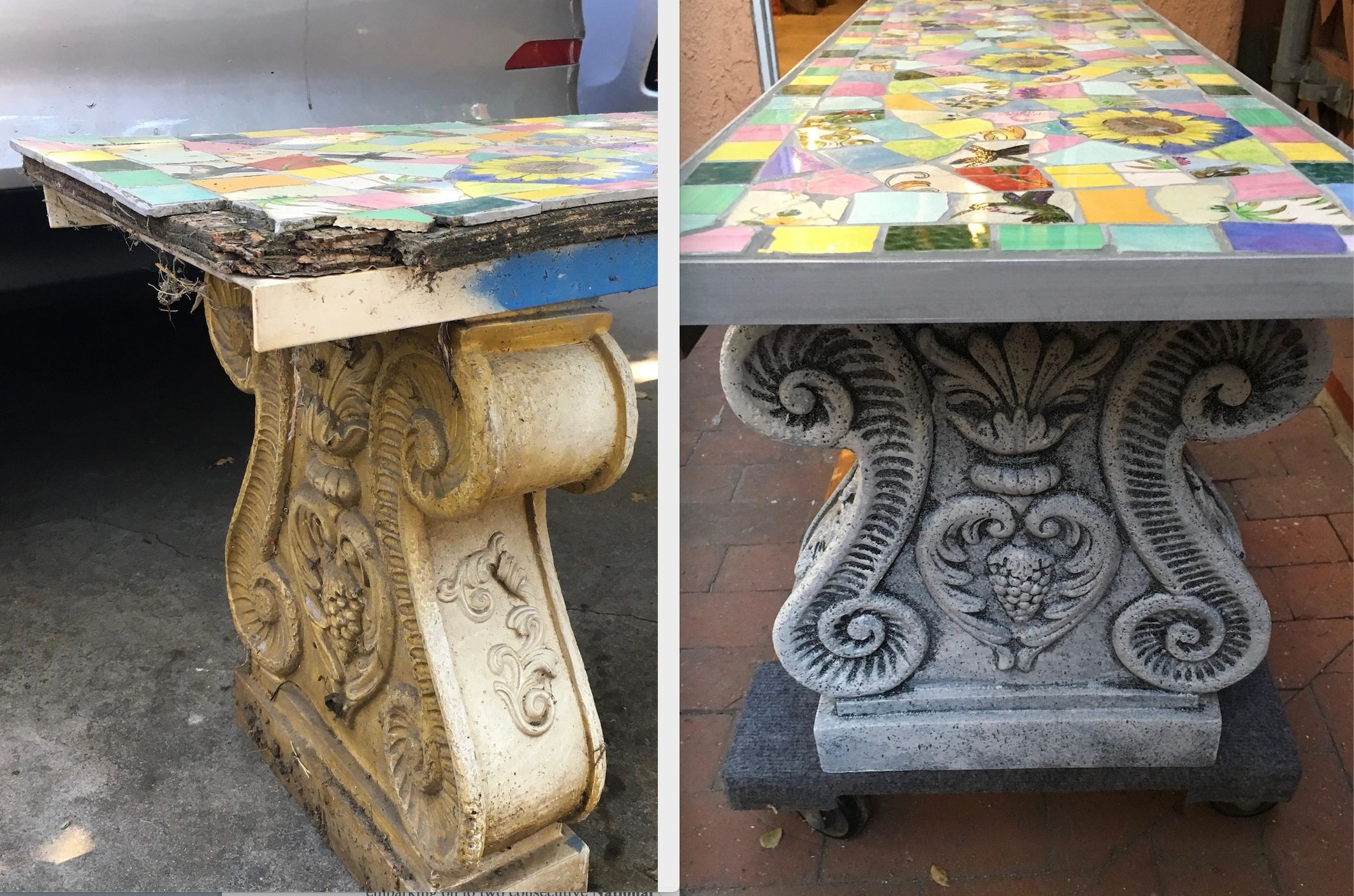 "{""blocks"":[{""key"":""nd5k"",""text"":""Repair of garden mosaic bench with custom aluminum border, replaced missing tiles, re-grouting and faux painting of plaster bases."",""type"":""unstyled"",""depth"":0,""inlineStyleRanges"":[],""entityRanges"":[],""data"":{}}],""entityMap"":{}}"