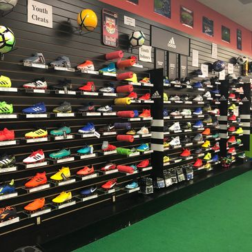 Soccer cleats wall