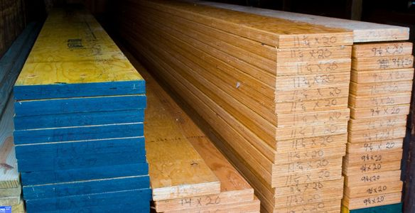 Calvert has LVL beams on stock and other hard to find items like douglas fir lumber and long lengths
