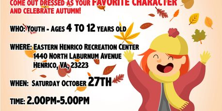 Annual Autumn Fest for kids 4 - 12 years old. Come out dressed in costume, enjoy food, games & fun.