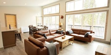 leather seating, rustic furniture, flat screen TV, mountain view, high ceilings, open concept