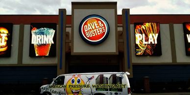 Dave and Buster's Pressure Washing by www.americanpressurewashing.com