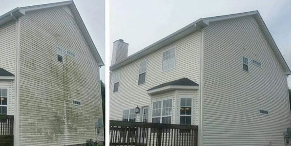 Before and after of Vinyl Siding  cleaning by www.americanpressurewashing.com