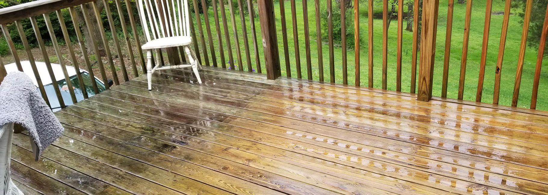 wooden deck cleaning by American Pressure Washing.com