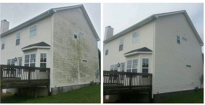 Before and after Soft Washing by  www.americanpressurewashing.com