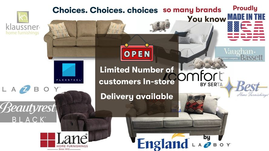 Choice Furniture plattsburgh sells all the top brands for furniture including La-Z-Boy, Serta, and m