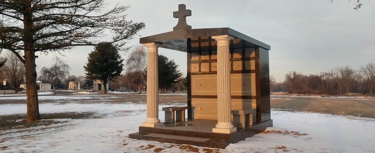 Larger garden crypt mausoleum for 14 people.