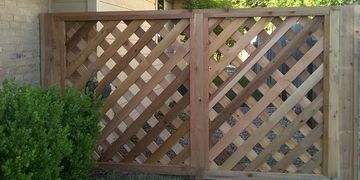 "Lattice fence constructed from scratch using cedar 1""X4""s"
