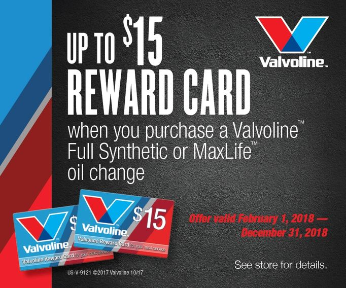 Oil Exchange Inc. Valvoline Full Synthetic or Maxlife Oil Change Reward Card