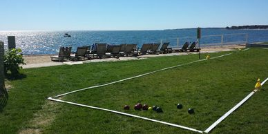 Joy of Bocce runs tournaments with these convenient portable courts