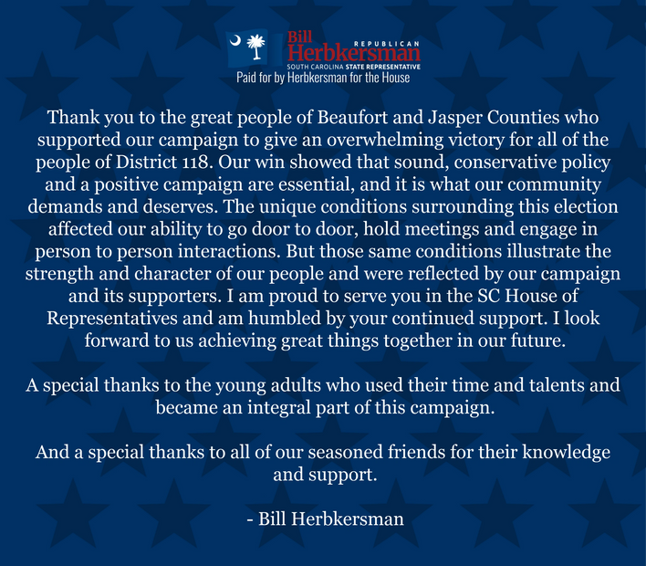 bill herbkersman, republican primary, sc house, district 118, lowcountry, beaufort county, bluffton