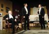 from left:  George Hartpence as Arthur Birling, Tom Smith as Eric Birling, Tim Swain as Gerald Croft
