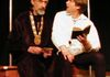 "Hamlet  (right - George Hartpence) informs Polonius  (left - Mort Paterson)  that what he reads is ""words, words, words..."""