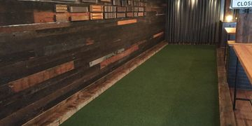 Bocce ball court artificial turf. Bar Mash. Cigar Factory. Charleston, SC.