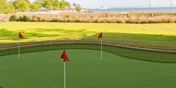 Putting green artificial turf. James Island, SC. Charleston, SC. Artificial lawn.