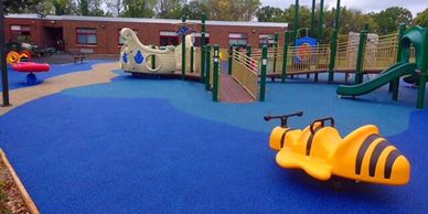 Rubber playground surface. Hotels. Apartment complex. School. Splash Pad.
