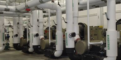chilled water loops, hot water loops, cooling towers, chillers, glycol
